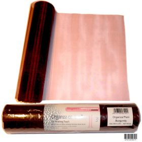 25m Organza Burgundy sheer table runner roll