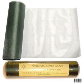 25m Organza silver sheer table runner roll