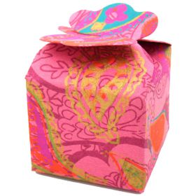 5cm square mini gift box paisley on pink