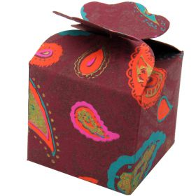 5cm square mini gift box paisley on maroon