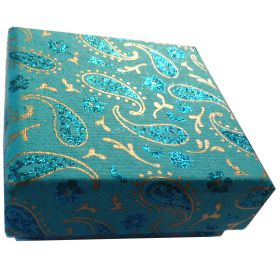 7.5cm square jewellery box cyan paisley