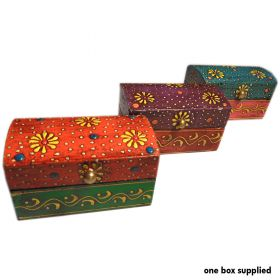 Hand-painted wooden treasure box