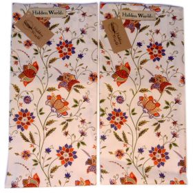 2 Indian Hidden World Silk tea towels