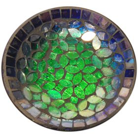 Iron & glass green mosaic dish
