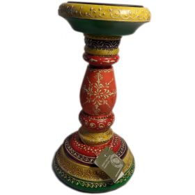 Medium hand-painted Indian candlestick
