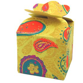 5cm square mini gift box paisley on yellow