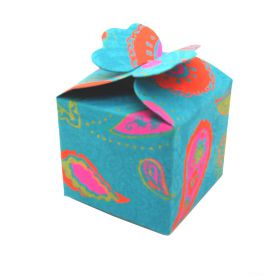 5cm square mini gift box paisley on cyan