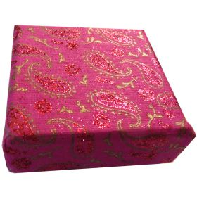 7.5cm square jewellery box pink paisley