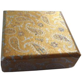 7.5cm square jewellery box gold paisley
