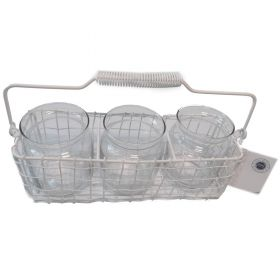 3 section white wire basket with jars