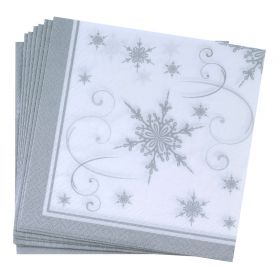 Neviti Shimmering Snowflake Pack of 20 Cocktail Napkins