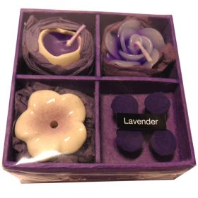 Candles & incense set lavender
