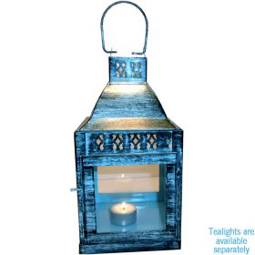 Large antique turquoise iron lantern