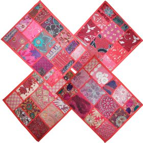4 red Khambadia patchwork place mats