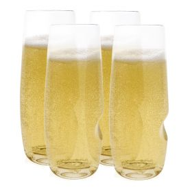 Pack of 4 acetate sparkling wine flute glasses, with a 8 fl oz (0.4 pt) capacity and a thumb groove