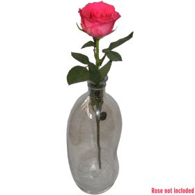 Large clear glass bud vase