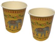 Exclusive Kesarya design 250 ml paper cup with an Indian elephant motif