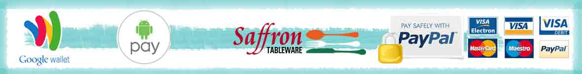 Saffron Tableware offers many different ways to pay, including credit or debit card, Paypal, ApplePay or AndroidPay